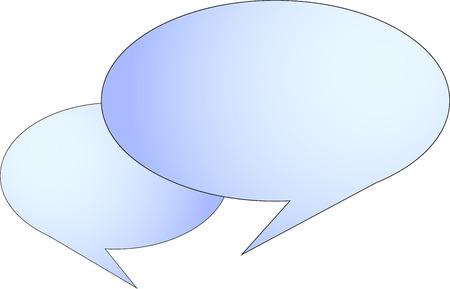 Two comic bubbles for telling sentences, empty, with gradient blue inside. Ilustração