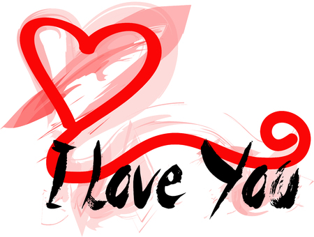 Graffiti for a greeting card with I love you Vectores