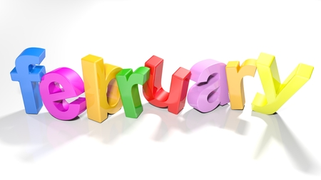 the word february written with colorful 3d letters standing slightly bent on a white surface - 3d rendered illustration