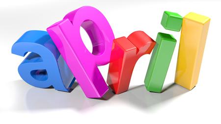 april 3D colorful write - 3D rendering