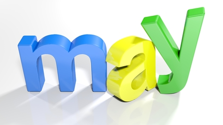 The word april, written with colorful 3D letters standing, slightly bent, on a white surface - 3d rendered illustration