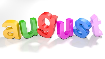 The word august, written with colorful 3d letters, slightly bent, on a white surface - 3d rendered illustration 版權商用圖片