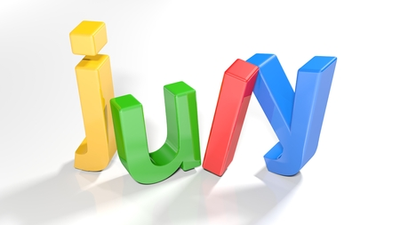 The word july, written with colorful 3d letters, slightly bent, on a white surface - 3d rendered illustration 版權商用圖片