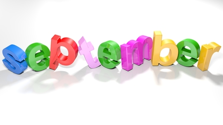 the word september, written with 3d colorful letters standing slightly bent on a white surface - 3d rendered illustration 版權商用圖片