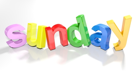 The word sunday written with colorful 3D letters, slightly bent, on a white surface - 3d rendered illustration
