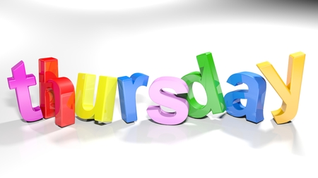 The word thursday written with colorful 3d letters, slightly bent, on a white surface - 3d rendered illustration Stok Fotoğraf