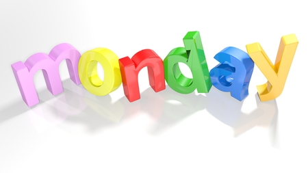 The word monday written with colorful 3D letters standing, slightly bent, on a white surface - 3d rendered illustration