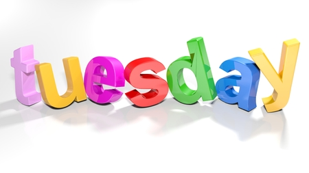 The word tuesday written with colorful 3D letters standing, slightly bent, on a white surface - 3d rendered illustration