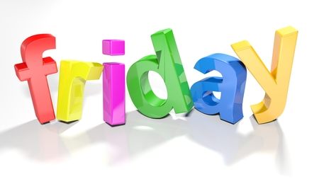 The word friday written with colorful 3d letters, slightly bent, on a white surface - 3d rendered illustration