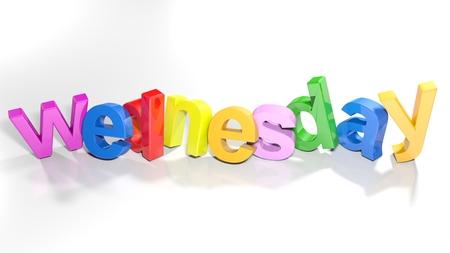 Le mot mercredi, écrit avec des lettres 3d colorées debout, légèrement courbé, sur une surface blanche - illustration de rendu 3d Banque d'images - 93925497