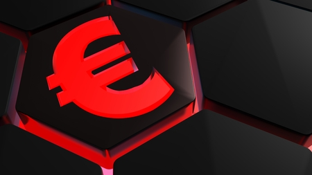 A red euro symbol is on a 3D hexagonal shape with red backlight - 3D rendered illustration