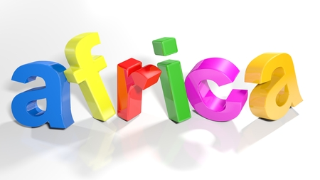 the word africa written with colorful 3d letters standing, slightly bent, on a white surface - 3d rendered illustration