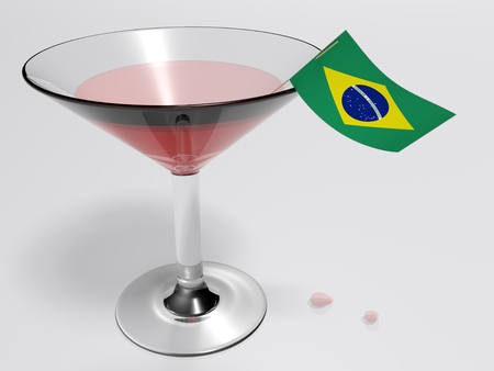 A glass for a cocktail with the flag of Brazil - 3D rendered illustration Banco de Imagens