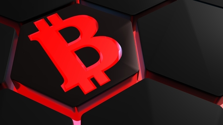 Hexagonal tiles receive a red light from back. Symbol of the Bitcoins - 3D render illustration