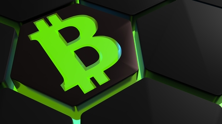 Hexagonal tiles receive a green light from back. Symbol of the Bitcoins - 3D render illustration Stock Photo