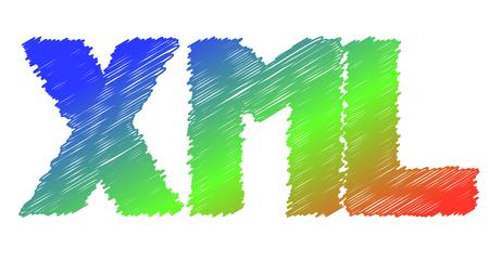 XML のカラフルなアイコン: 拡張可能なマークアップ言語 - ベクトル  イラスト・ベクター素材