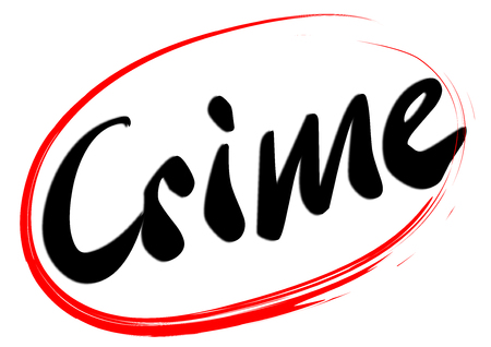 The handwritten word Crime is a red hand drawn ellipse - vector