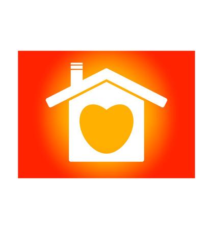 Het icoon van een huis met een hart erin. Achtergrond is gradiënt geel tot rood - vector
