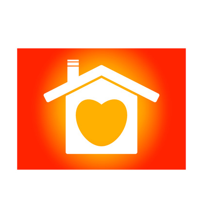 The icon of a home with a heart inside. Background is gradient yellow to red - vector