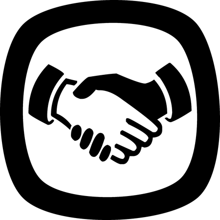 The black and white icon for a handshake - vector
