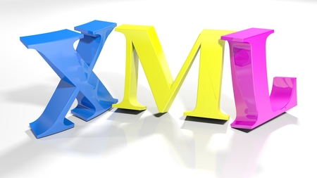 The write XML - Extensible Markup Language - written with colorful 3D letters standing slightly bent, on a white surface - 3d rendered illustration