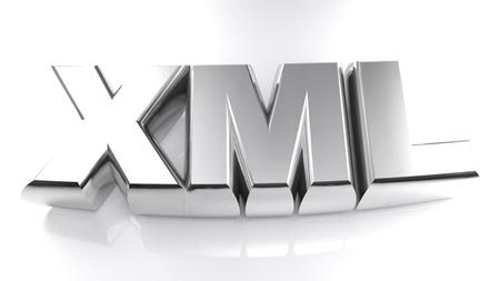 The write XML, written with 3D metallic chromed letters, 3D rendering illustration