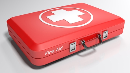 A red suitcase for emergency - 3D rendered illustration Stock Photo