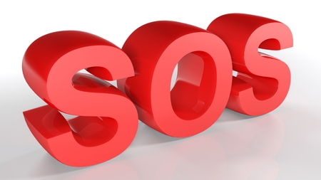 The SOS code written with red 3D letters on a white surface - 3D rendered illustration
