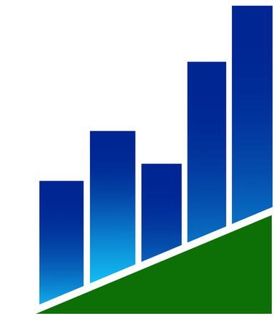 A logo with a blue bar chart on a green triangle - vector Illustration