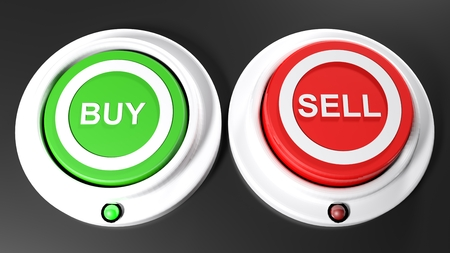 A green pushbutton for buying and a red one for selling. The green button for buying is pressed down and the green led is on; The red button is not printed and its red LED is off - 3D rendered illustration Reklamní fotografie