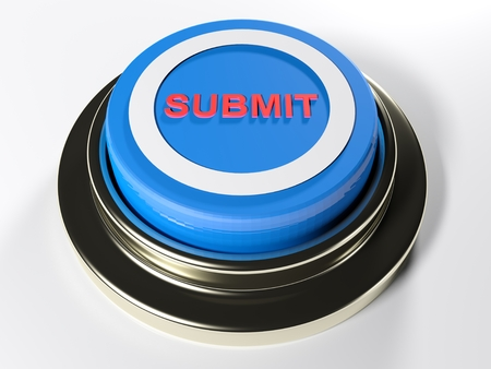 A blue pushbutton with a white circle and the red word SUBMIT on its top - 3D rendered illustration