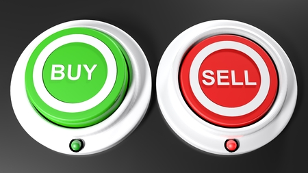 A green pushbutton for buying and a red one for selling. The red button is being pressed down and its red led is on; the green button for buying is not pressed and its green is off - 3D rendered illustration
