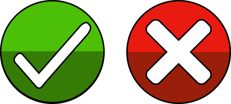 A green icon with a cross to reject - Vector illustration. Illustration