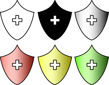 A set of shield icons: full white, full black, black and white gradient and red, yellow and green. Vector.