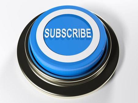 A blue circular push button with a white circle and the inscription SUBSCRIBE on its top - 3D rendered illustration Stock Photo