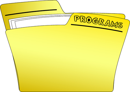 The icon of a yellow folder containing some documents. PROGRAMS, written with sketched - architecture - like - characters - vector Illustration
