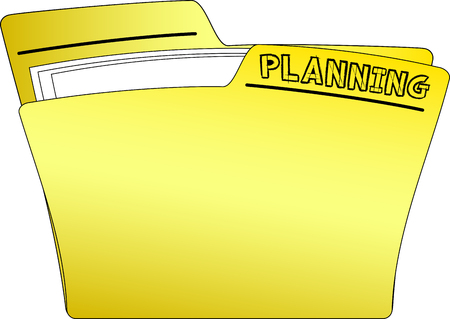 PLANNING folder with documents Vector illustration.