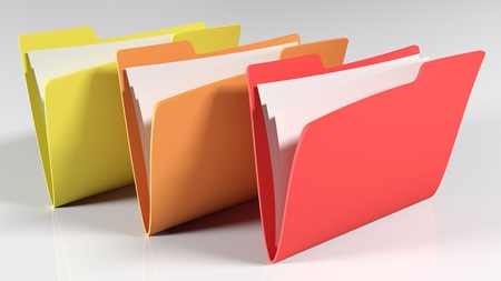 Three folders isolated on white background, 3d render illustration 스톡 콘텐츠