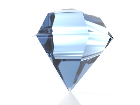 A diamond giving blue reflections is isolated on its point, isolated on white background - 3d rendered illustration