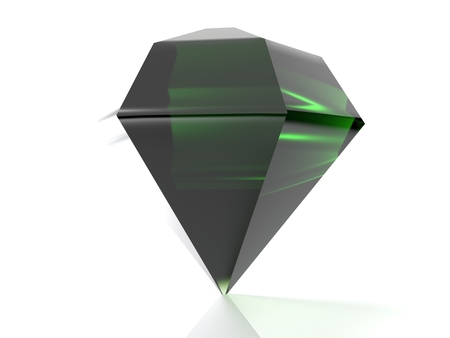 A green emerald is standing on its point, isolated on white background - 3d rendered illustration
