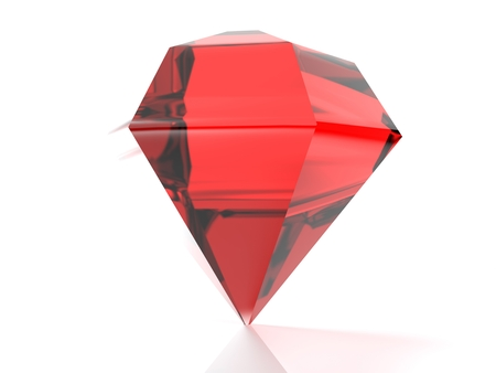 A red ruby ??is standing on its point, isolated on white background - 3d rendered illustration