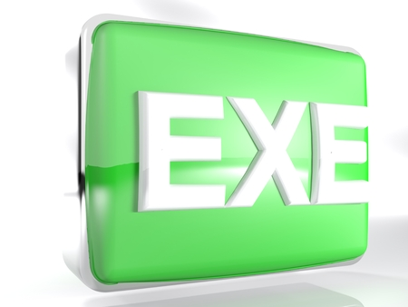 An icon for EXE files: a green rounded box with a chromed border line