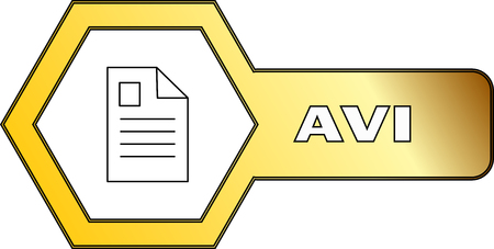 An icon for AVI files with hexagonal shape - vector