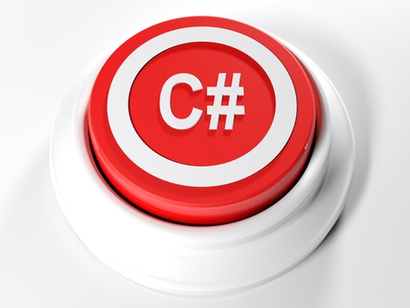 A red circular push button with the inscription C # on its top - 3D rendered illustration Imagens