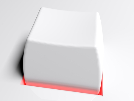 A white push button with a red light symbol - 3D rendered illustration
