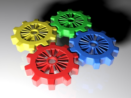 Four mating gears are on a white surface. Perspective view - 3d render illustration