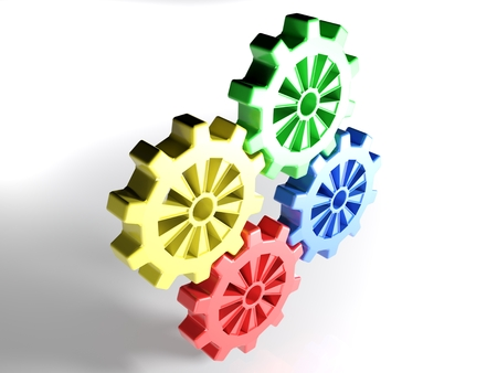 Four mating gears, red, yellow, green and blue isolated on white background - 3d rendered illustration Stock Photo