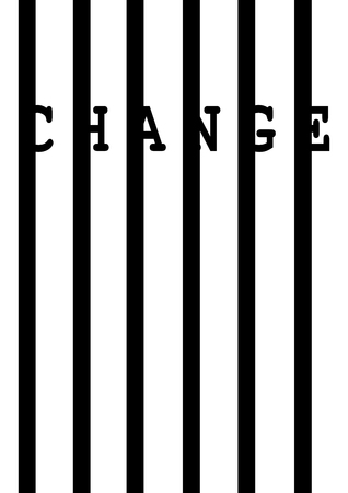 Change on black vertical bars - Vector illustration. Illustration