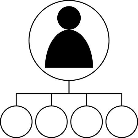Icon - Gebruiker verbonden met 4 onderwerpen - Vector
