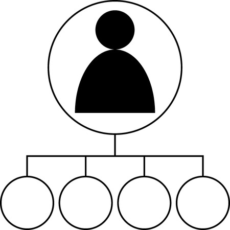 Icon - User connected with 4 topics - Vector